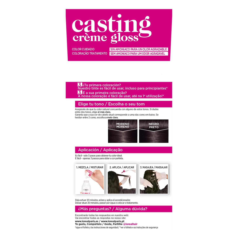 Tinte Créme Gloss nº 200 Negro Ébano L'Oréal Casting 1 ud. -