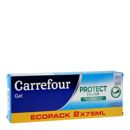 Dentífrico gel bi fluor Carrefour pack de 2 unidades de 75 ml.