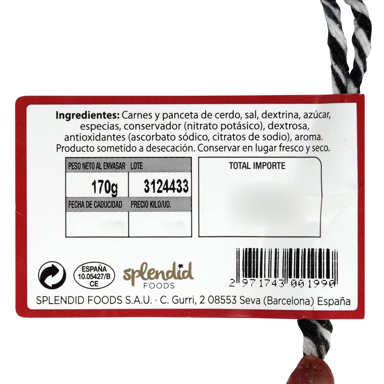 Longaniza extra reserva pieza Exentis 280 g - 2