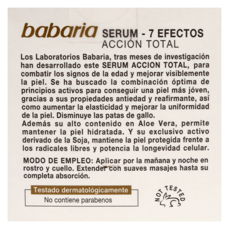 Serum Acción Total 7 efectos Aloe Babaria 50 ml. -
