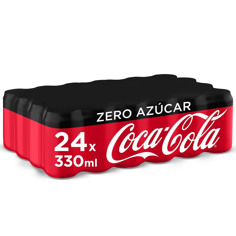 Refresco de cola Coca Cola zero pack de 24 latas de 33 cl.