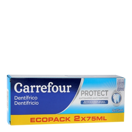 Dentrífico anti sarro Carrefour pack de 2 unidades de 75 ml.