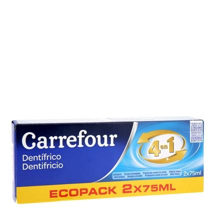 Pasta dental Carrefour pack de 2 unidades de 75 ml.