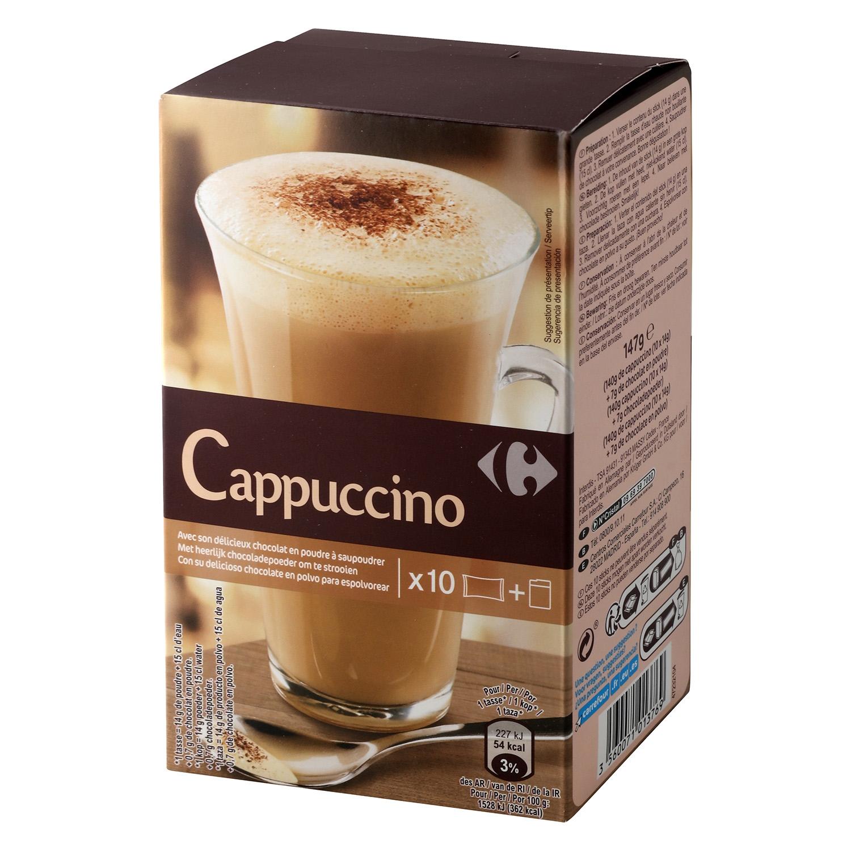 Café soluble natural cappuccino en sobres Carrefour 10 unidades de 14 g.