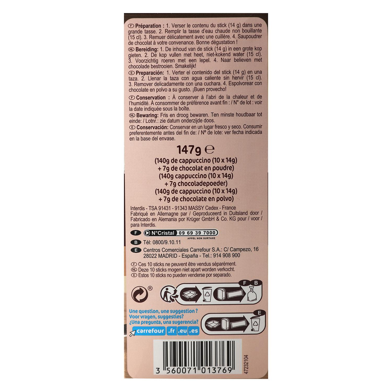 Café soluble natural cappuccino en sobres Carrefour 10 unidades de 14 g. - 2