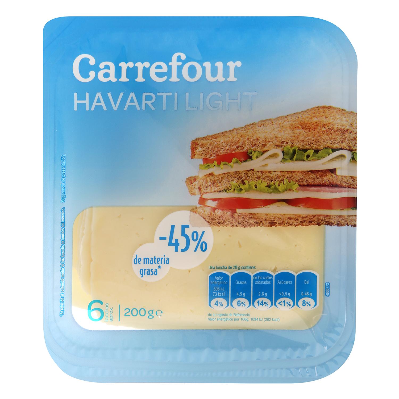 queso havarti light en lonchas Carrefour 200 g.
