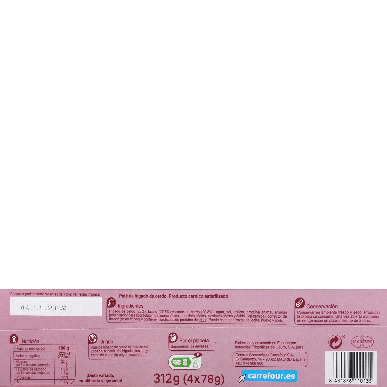 Paté de hígado de cerdo Carrefour pack de 4 unidades de 78 g. -