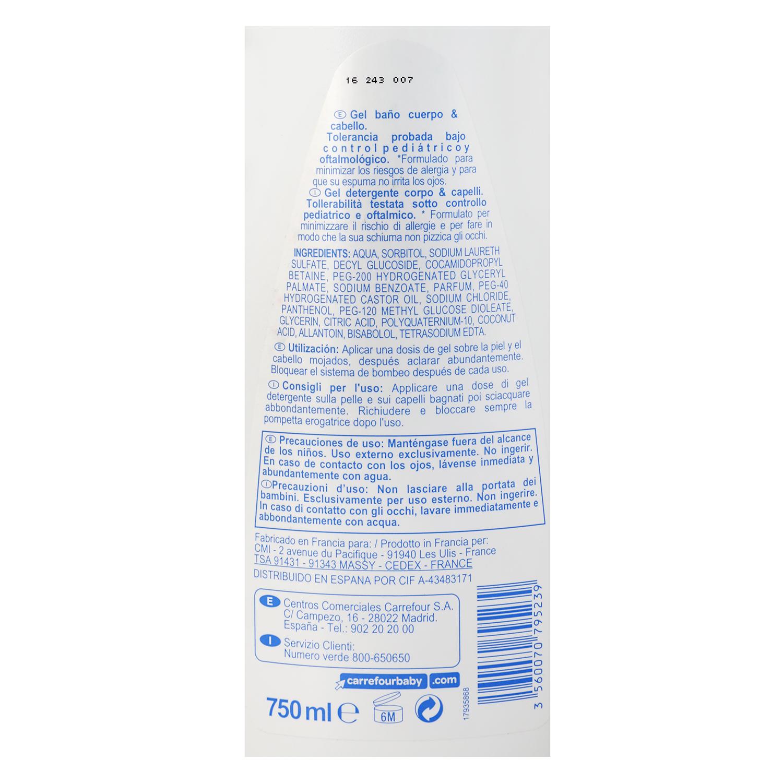Gel baño Sensitive para cuerpo y cabello Carrefour Baby 750 ml. -