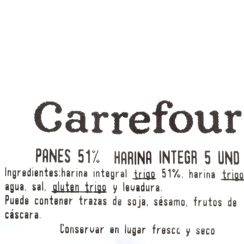 Panes 51% harina integral Carrefour 5 ud - 3