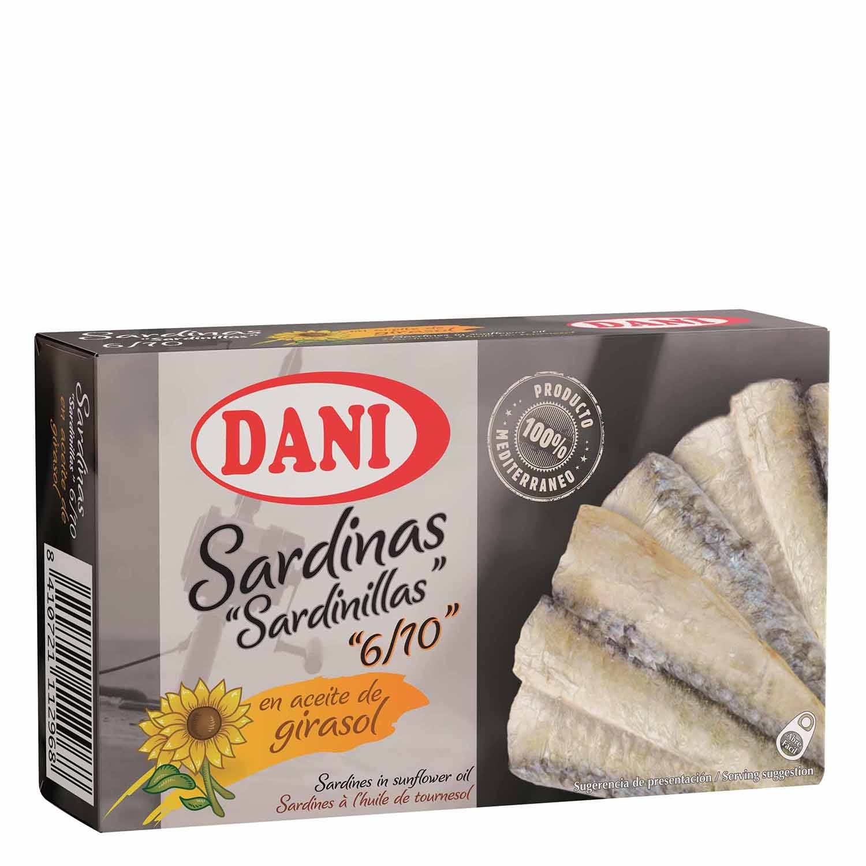 Sardinillas Premium en aceite de girasol Dani 65 g.