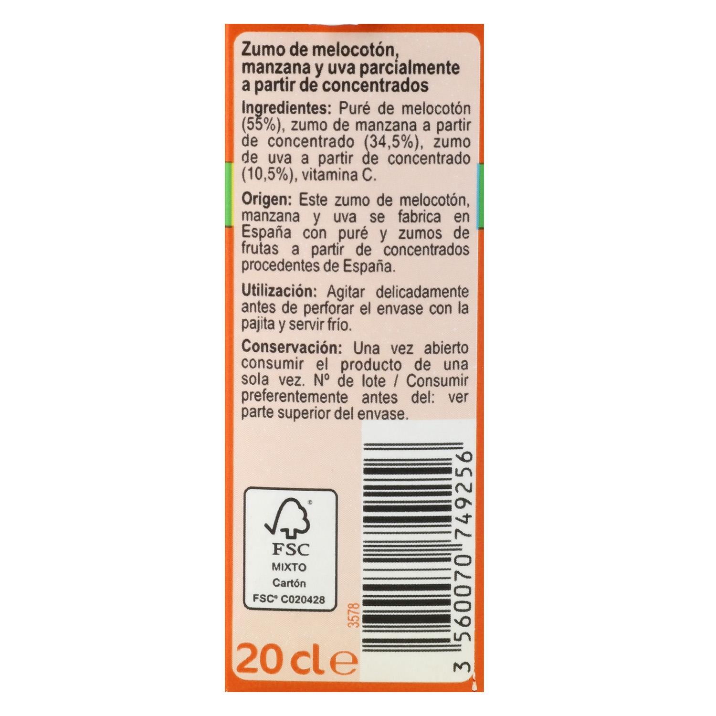 Zumo de melocotón, manzana y uva Carrefour pack de 6 briks de 20 cl. -