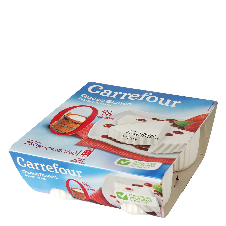 Queso blanco Carrefour pack de 4 unidades de 62,5 g.