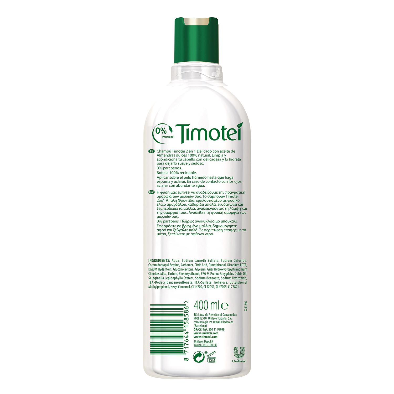 Champú nutritivo de Leche de Almendras & Flor de Vainilla Timotei 400 ml. -