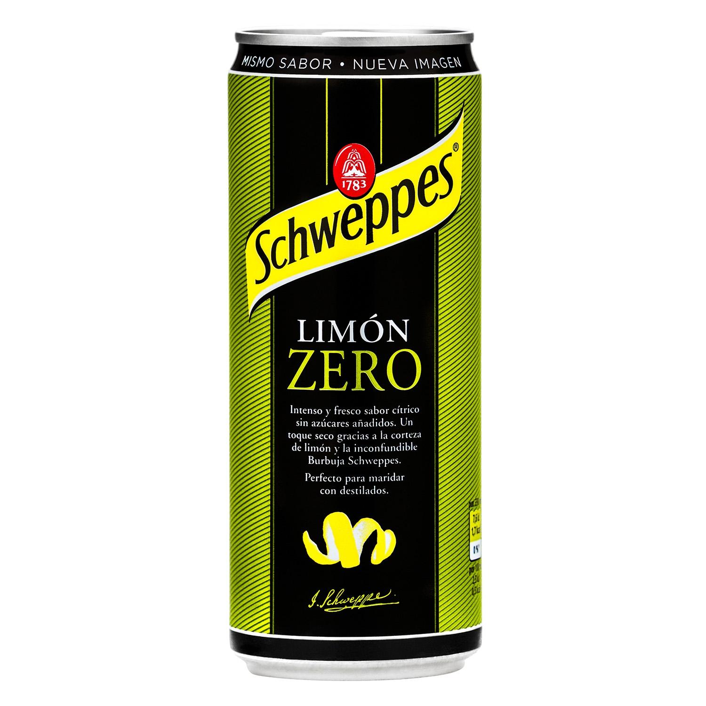 Refresco de limón Schweppes con gas zero lata 33 cl.