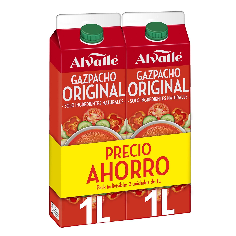 Gazpacho original Alvalle sin gluten pack de 2 unidades de 1 l.