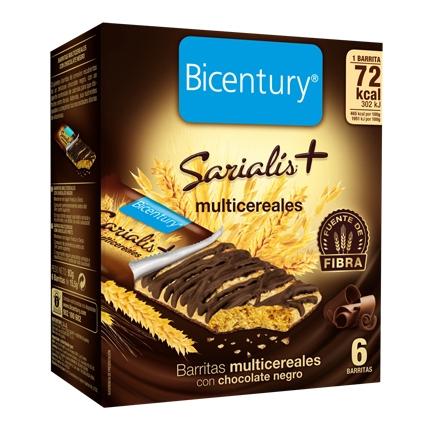 Barritas multicereales con chocolate negro Bicentury Sarialís 78 g.