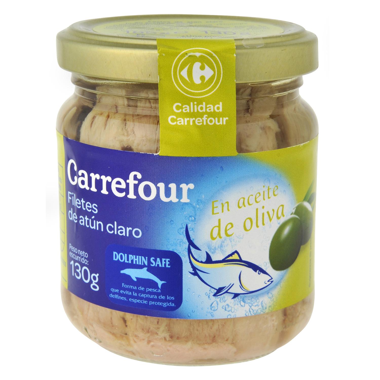 Atún claro en aceite de oliva Carrefour 130 g.