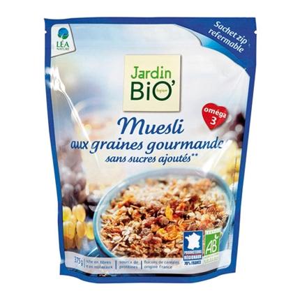 Cereales sin azúcar ecológicos Muesli Jardin Bio 375 g.