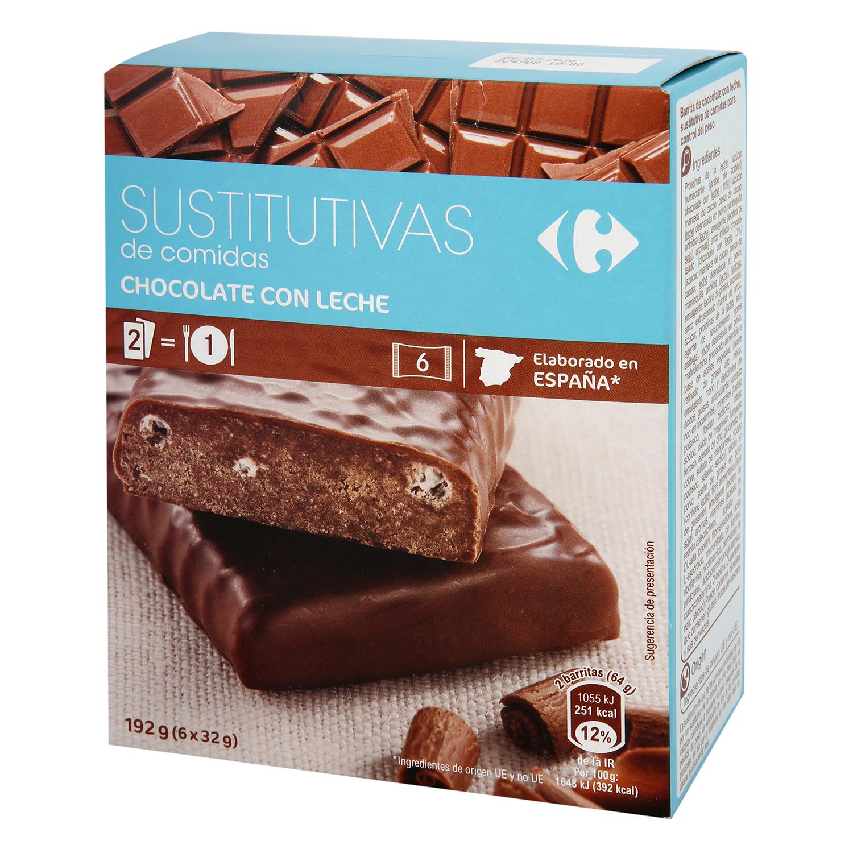 Barritas sustitutivas sabor chocolate Carrefour 210 g.