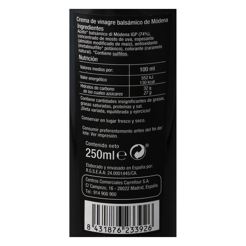 Vinagre balsámico de módena Carrefour Selección 250 ml. -