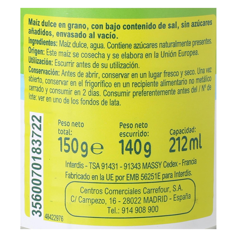 Maíz sin sal y sin azúcares - 2