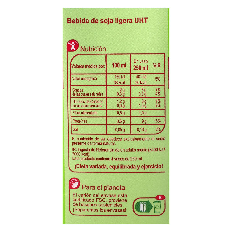 Bebida de soja Carrefour ligera brik 1 l. -