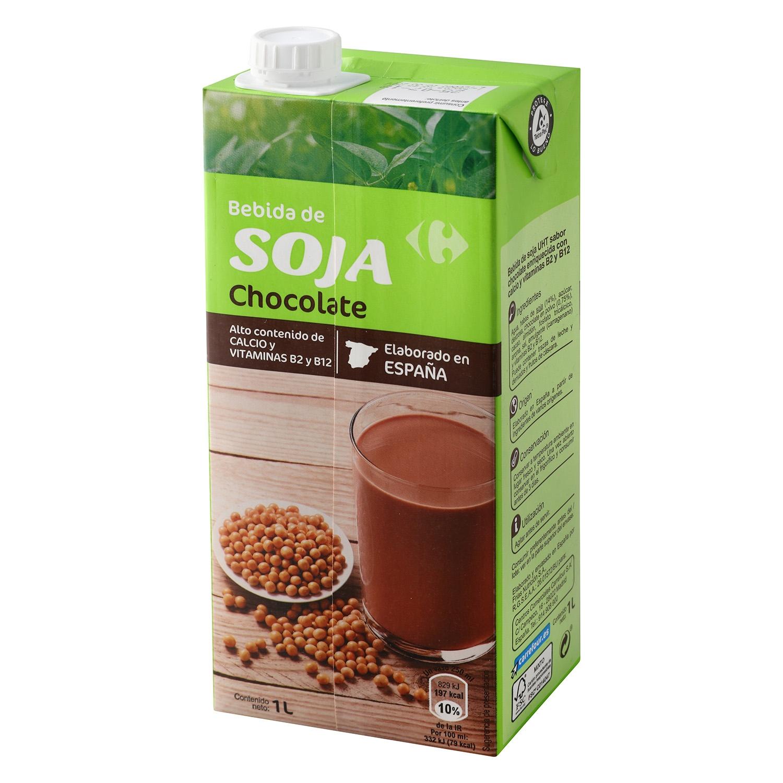 Bebida de soja Carrefour sabor chocolate brik 1 l.