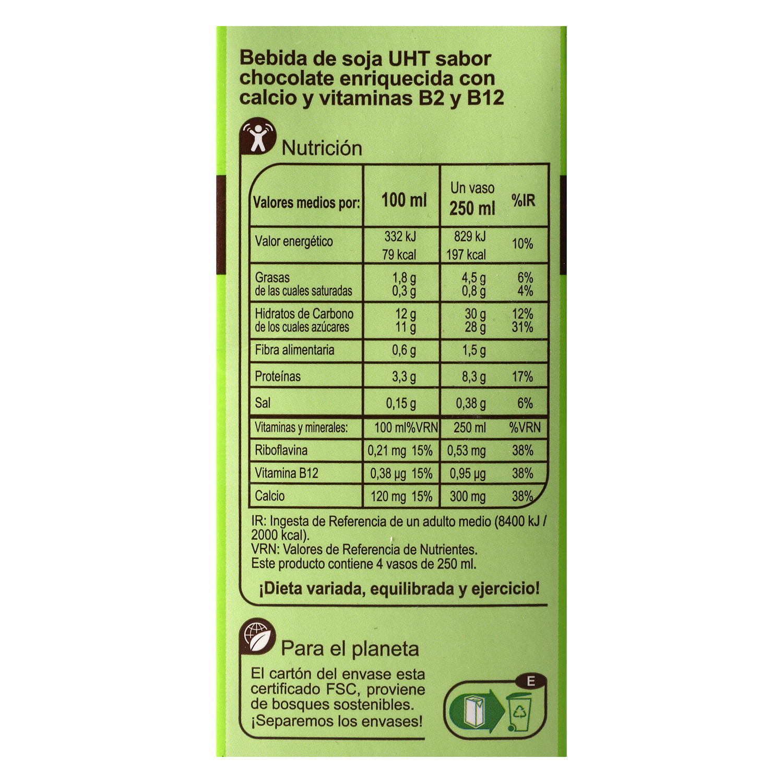 Bebida de soja Carrefour sabor chocolate brik 1 l. - 2
