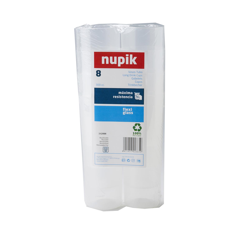 8 Vasos Tubo  de Plástico NUPIK  5,6x11,2cm - Transparente