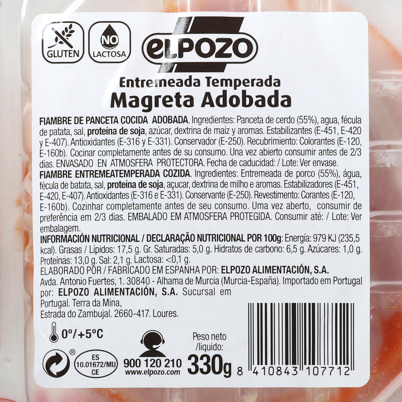 Magreta de Cerdo Adobada Fileteada El Pozo 350 g -