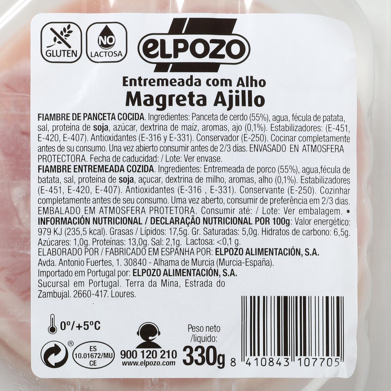 Magreta de Cerdo al Ajillo Fileteada El Pozo 350 g -