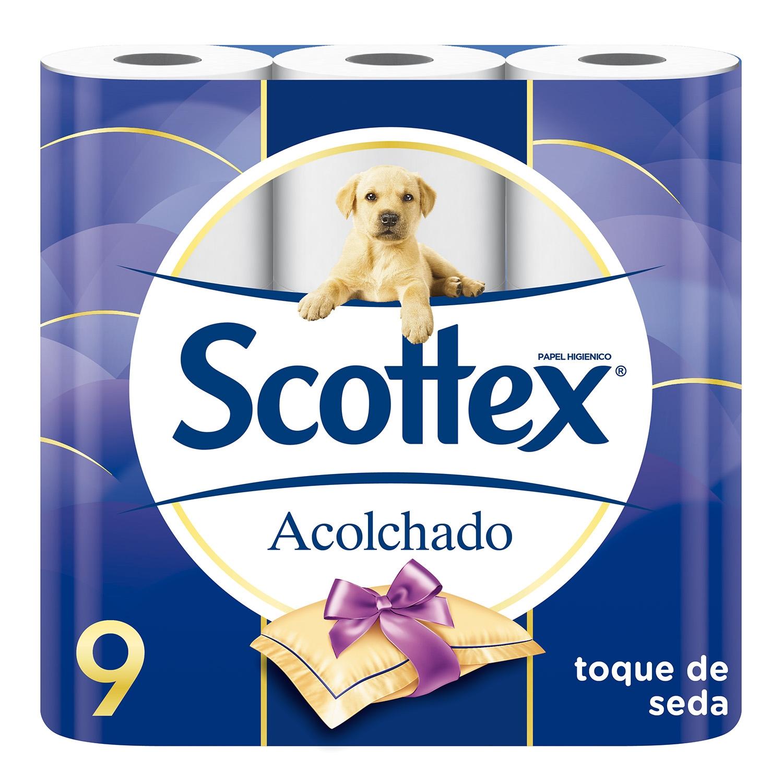 Papel higiénico acolchado Scottex 9 rollos.