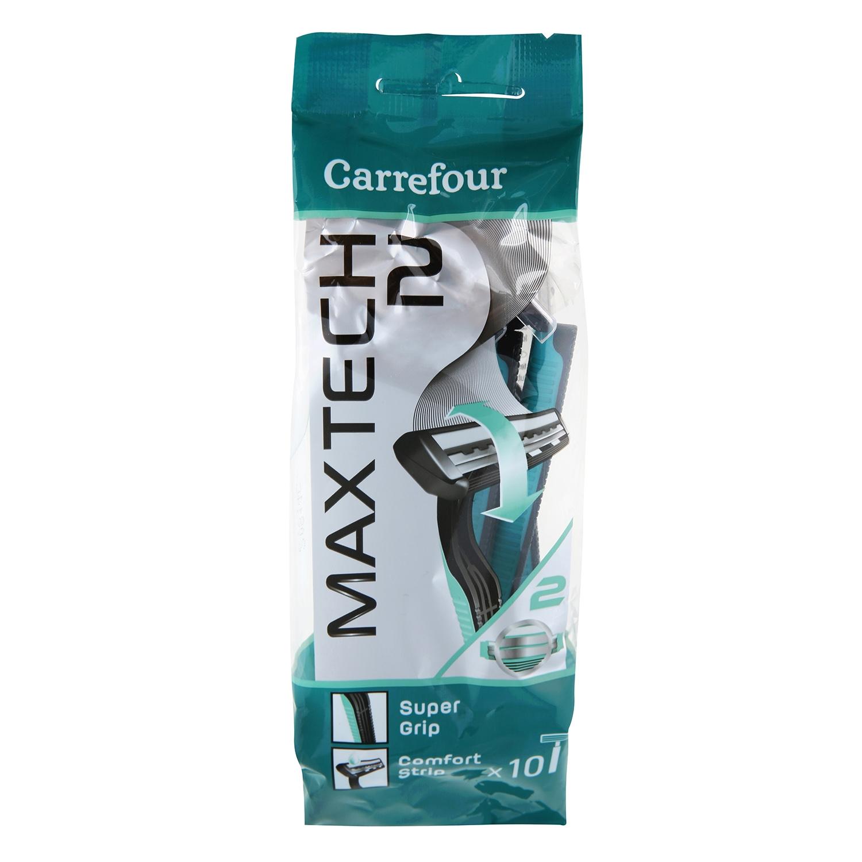 Maquinilla desechable con cabezal pivotante bimaterial Maxtech 2 Carrefour 10 ud.