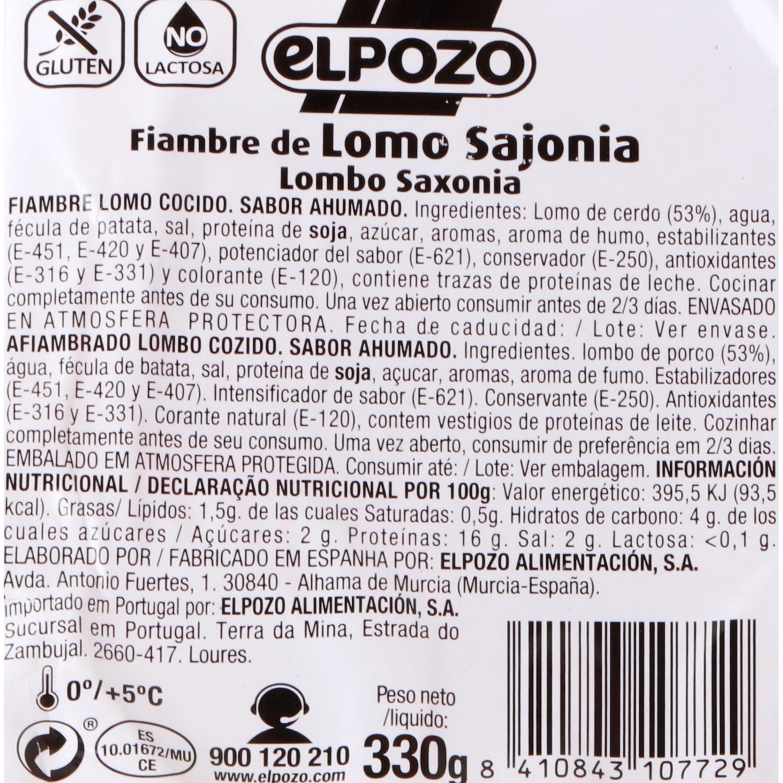 Lomo de Sajonia de Cerdo Fileteado El Pozo 350 g  - 3