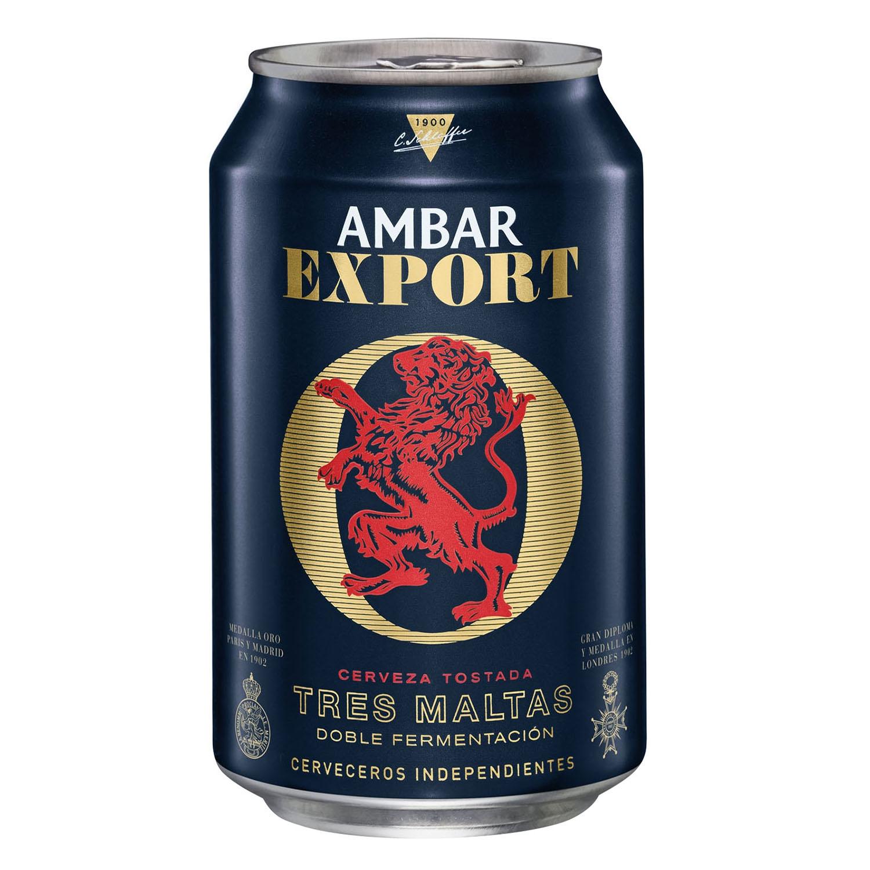 Cerveza Ambar Export tostada Tres Maltas lata
