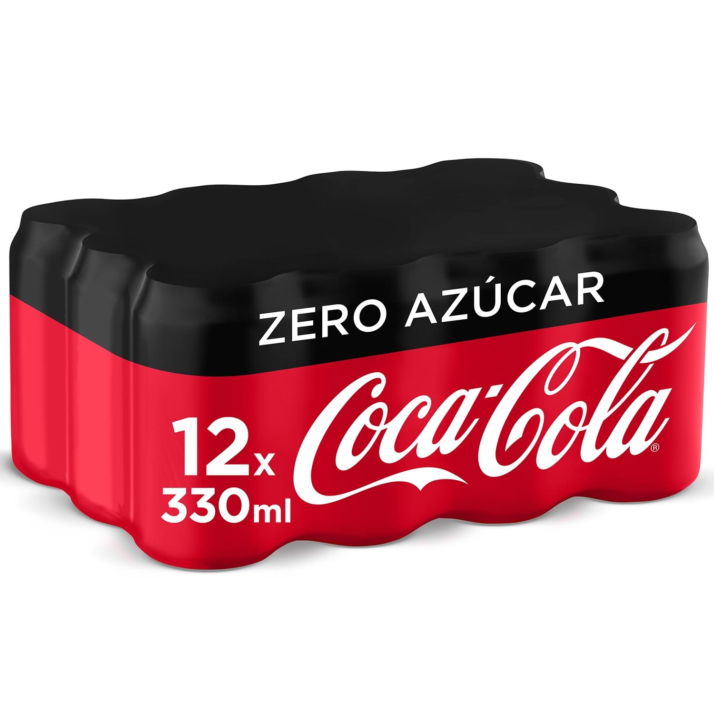 Refresco de cola Coca Cola zero pack de 12 latas de 33 cl.