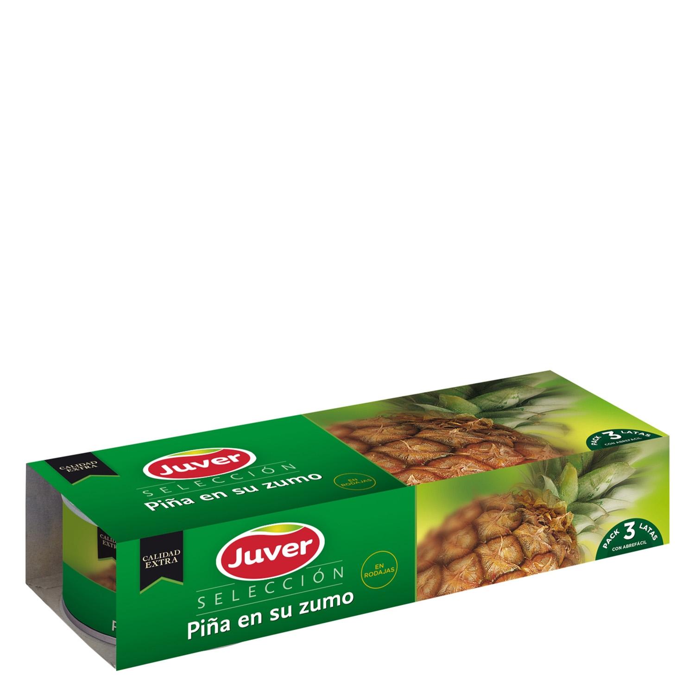 Piña en su jugo Juver pack de 3 unidades de 225 g.