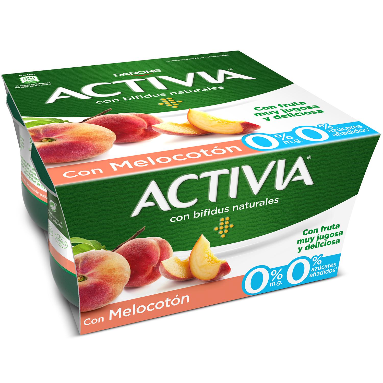 Yogur bífidus desnatado con melocotón Danone Activia pack de 4 unidades de 125 g. -
