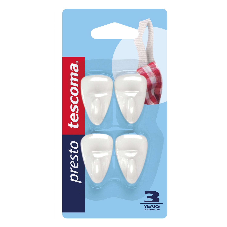 Perchas Adhesivos de Plástico TESCOMA Presto 3cm - Blanca -