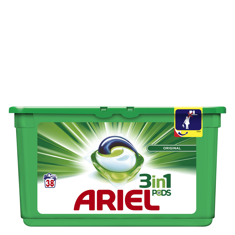 Detergente 3 en 1 en cápsulas Ariel 38 ud.