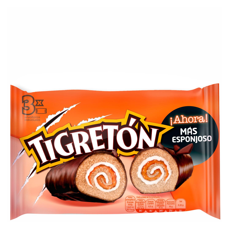 Pastel Tigretón Roll Bimbo pack de 3 unidades de 50 g.