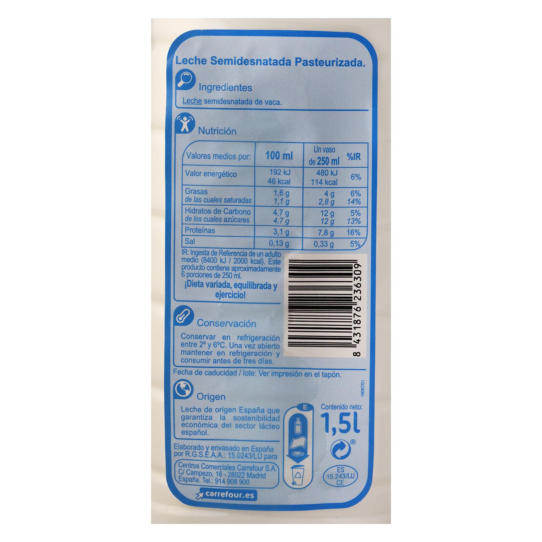 Leche semidesnatada fresca Carrefour botella 1,5 l. - 2
