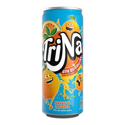 Refresco de naranja Trina sin gas lata 33 cl.