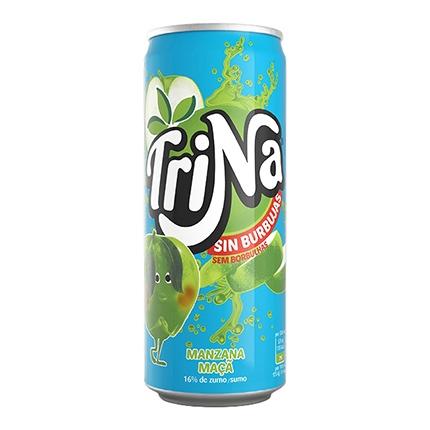 Refresco de manzana Trina sin gas lata 33 cl.