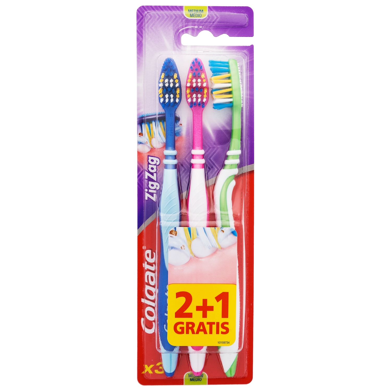 Cepillo dental zigzag medio Colgate 3 ud 0a7a195bf39b