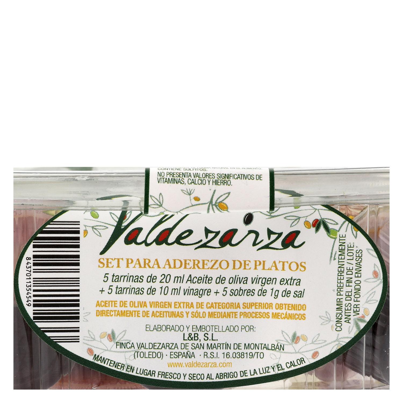 Set de aceite de oliva virgen extra, vinagre y sal Valdezarza 1 ud. -