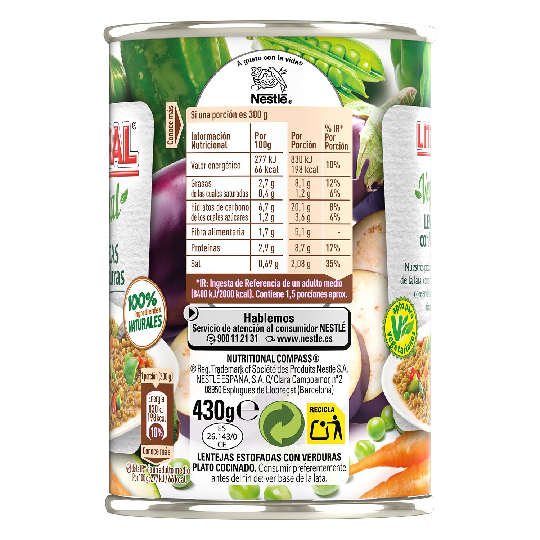 Lentejas con verduras Litoral 430 g. - 2