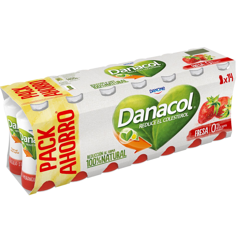 Yogur líquido de fresa Danone Danacol pack de 14 unidades de 100 g.