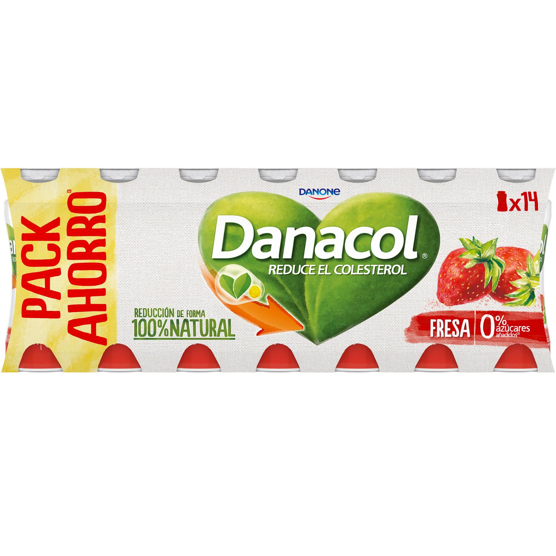 Yogur líquido de fresa Danone Danacol pack de 14 unidades de 100 g. -