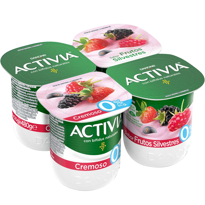 Yogur bífidus desnatado cremosos de frutos silvestres Danone Activia pack de 4 unidades de 120 g.